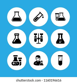 9 beaker icons in vector set. test tube and flask for chemistry class, chemistry, science and lab illustration for web and graphic design