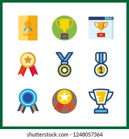 9 best icon. Vector illustration best set. quality and trophy icons for best works