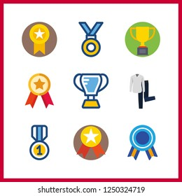 9 best icon. Vector illustration best set. shirt and trousers and trophy icons for best works