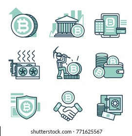 9 Bitcoin line vector icons. Bitcoin mining, bitcoin echange, depositing,  earning and saving cryptocurrency