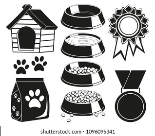 9 black and white cat care elements silhouette set. Simple supply for domestic animal. Pet themed vector illustration for icon, sticker, patch, label, badge, certificate or gift card decoration