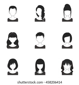 9 black and white women icons with blank faces