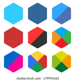 9 blank rounded hexagon icon set. Popular color web button on white background. Flat newest simple clean plain tidy solid style. Internet design element save in vector illustration 8 eps
