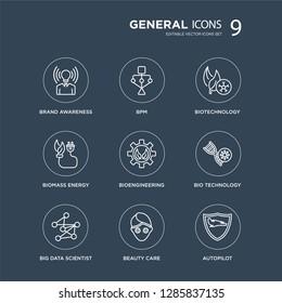 9 brand awareness, bpm, big data scientist, bio technology, bioengineering, biotechnology, biomass energy, beauty care modern icons on black background, vector illustration, eps10, trendy icon set.
