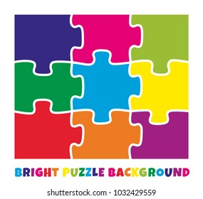 9 bright colorful puzzle pieces vector illustration. 3 x 3 jigsaw game outline square picture