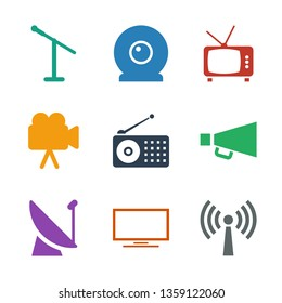 9 broadcast icons. Trendy broadcast icons white background. Included filled icons such as signal, TV, satellite, megaphone, radio, camera, web camera. broadcast icon for web and mobile.