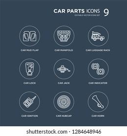 9 car mud flap, manifold, ignition, indicator, jack, luggage rack, lock, hubcap modern icons on black background, vector illustration, eps10, trendy icon set.