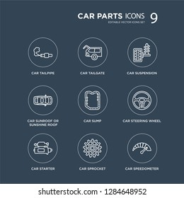 9 car tailpipe, tailgate, starter, steering wheel, sump, suspension modern icons on black background, vector illustration, eps10, trendy icon set.