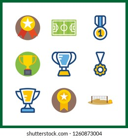 9 champion icon. Vector illustration champion set. trophy and voleyball ground icons for champion works