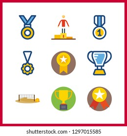 9 champion icon. Vector illustration champion set. voleyball ground and trophy icons for champion works