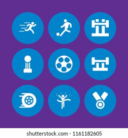 9 champion icons in vector set. medal, soccer, racing and runer silhouette running fast illustration for web and graphic design