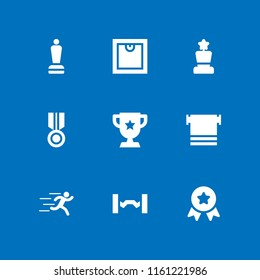 9 champion icons in vector set. medal, runer silhouette running fast, trophy and sports and competition illustration for web and graphic design