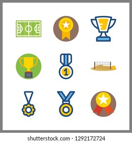 9 championship icon. Vector illustration championship set. voleyball ground and trophy icons for championship works