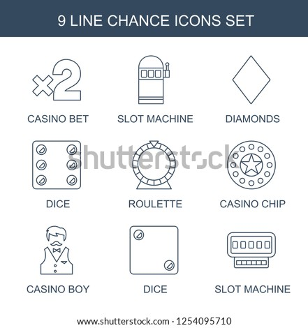 9 Chance Icons Trendy White Background Included Line Such As Casino Bet Slot Machine Diamonds Dice Roulette Chip