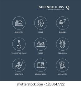 9 Chemistry, Cells, Scientific, Tesla coil, Tubes, Biology, Volumetric flask, Science book modern icons on black background, vector illustration, eps10, trendy icon set.