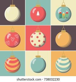 9 christmas balls flat design