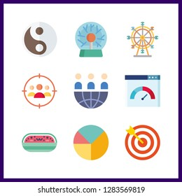9 circle icon. Vector illustration circle set. watermelon and ferris whell icons for circle works