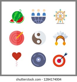 9 circle icon. Vector illustration circle set. ferris whell and teamwork icons for circle works