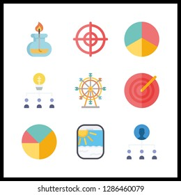 9 circle icon. Vector illustration circle set. ferris whell and burner icons for circle works
