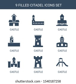9 citadel icons. Trendy citadel icons white background. Included filled icons such as castle. citadel icon for web and mobile.
