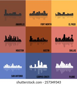 9 Cities of Texas ( Amarillo, Fort Worth, El Paso, Houston, Austin, Dallas, San Antonio, Plano, Corpus Cristi )