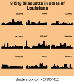 9 City in Louisiana ( Baton Rouge, Monroe, Shreveport, New Orleans, Lake Charles, Lafayette, Bossier City, Alexandria, Natchitoches )