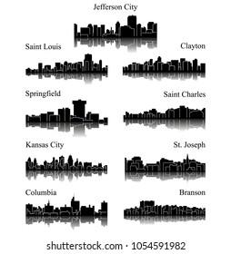 9 city silhouette in Missouri ( Jefferson City, Saint Louis, Clayton, Springfield, Saint Charles, Kansas City, St. Joseph, Columbia, Branson )