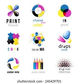 9 CMYK logo templates on white background