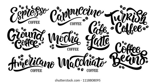9 Coffee Quotes. Vector text. Set of vector inscriptions. Typography vector design for a coffee house. Design template celebration. Vector illustration.