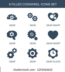 9 cogwheel icons. Trendy cogwheel icons white background. Included filled icons such as gear, gear heart, gear clock. cogwheel icon for web and mobile.