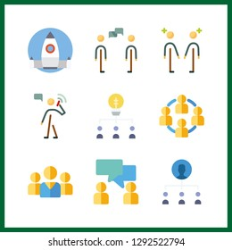 9 colleagues icon. Vector illustration colleagues set. conversation and startup icons for colleagues works