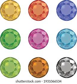 9 colors of diamond gold gems ruby pink green brown black blue diamonds vectors set
