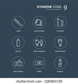 9 Comb, Clean dishes, body Cream, odour, shaming, Chlorine, Bottle, Wipes modern icons on black background, vector illustration, eps10, trendy icon set.