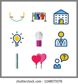 9 creative icon. Vector illustration creative set. ruller and balloons icons for creative works