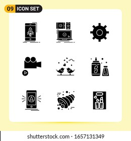 9 Creative Icons for Modern website design and responsive mobile apps. 9 Glyph Symbols Signs on White Background. 9 Icon Pack.