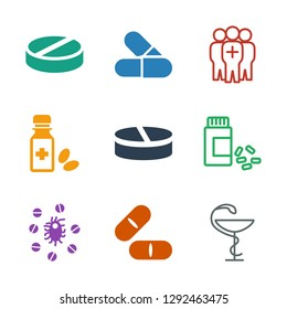 9 cure icons. Trendy cure icons white background. Included filled and outline icons such as medicine, pill, virus and pills, medicine bottle, medical group. cure icon for web and mobile.