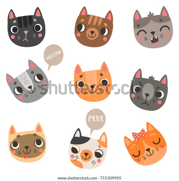 9 cute cats vector characters set