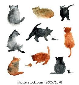 9 cute watercolor cats with mouse on white background. Vector set
