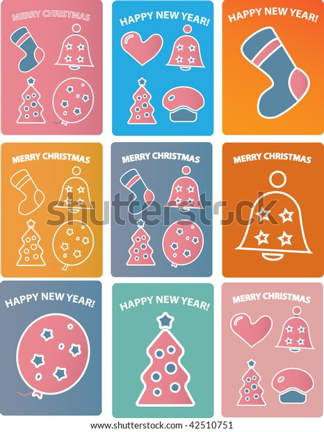 9 cute winter holidays cards. vector