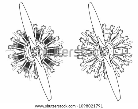 9 Cylinder Radial Engine Colored Outline Stock Vector Royalty Free