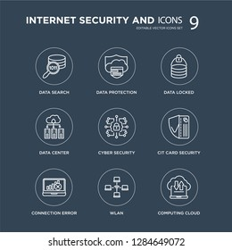 9 data search, Data protection, Connection error, Cit card security, Cyber locked, center, wlan modern icons on black background, vector illustration, eps10, trendy icon set.