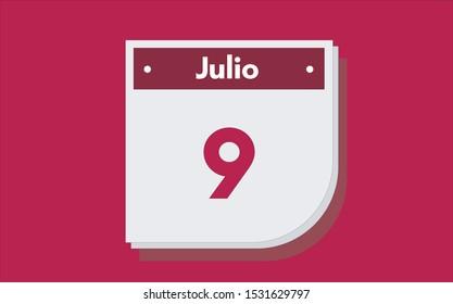 9 de Julio. Dia del mes. Calendario (July 9th. Day of month. Calendar in spanish) vector illustration icon.