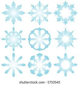 9 Decorative vector snowflakes