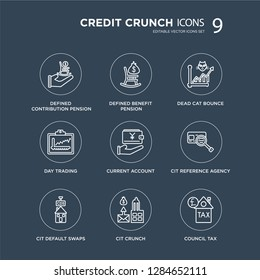 9 Defined contribution pension, benefit Cit default swaps, reference agency, Current account modern icons on black background, vector illustration, eps10, trendy icon set.