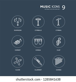 9 Diapason, Cymbals, Clave, Clef, Conga, Cymbal, cornet, Clarinet modern icons on black background, vector illustration, eps10, trendy icon set.