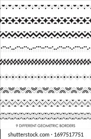9 different seamless geometric border vector patterns created with straight lines, curvy lines, zig-zag line