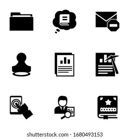 9 document filled icons set isolated on white background. Icons set with Folder, Knowledge, Spam, Stamp, Annual report, Data mining, testing, tax consultant, Scrapbooking icons.
