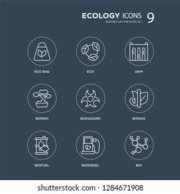 9 Eco bag, Eco, Biofuel, Biogas, Biohazard, Dam, Bonsai, Biodiesel modern icons on black background, vector illustration, eps10, trendy icon set.
