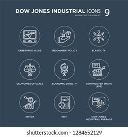 9 Enterprise value, Endowment policy, Ebitda, Earnings per share (EPS), Economic growth, Elasticity modern icons on black background, vector illustration, eps10, trendy icon set.