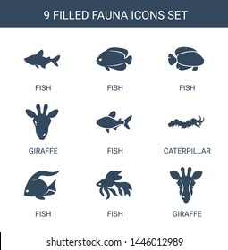 9 fauna icons. Trendy fauna icons white background. Included filled icons such as fish, giraffe, caterpillar. fauna icon for web and mobile.